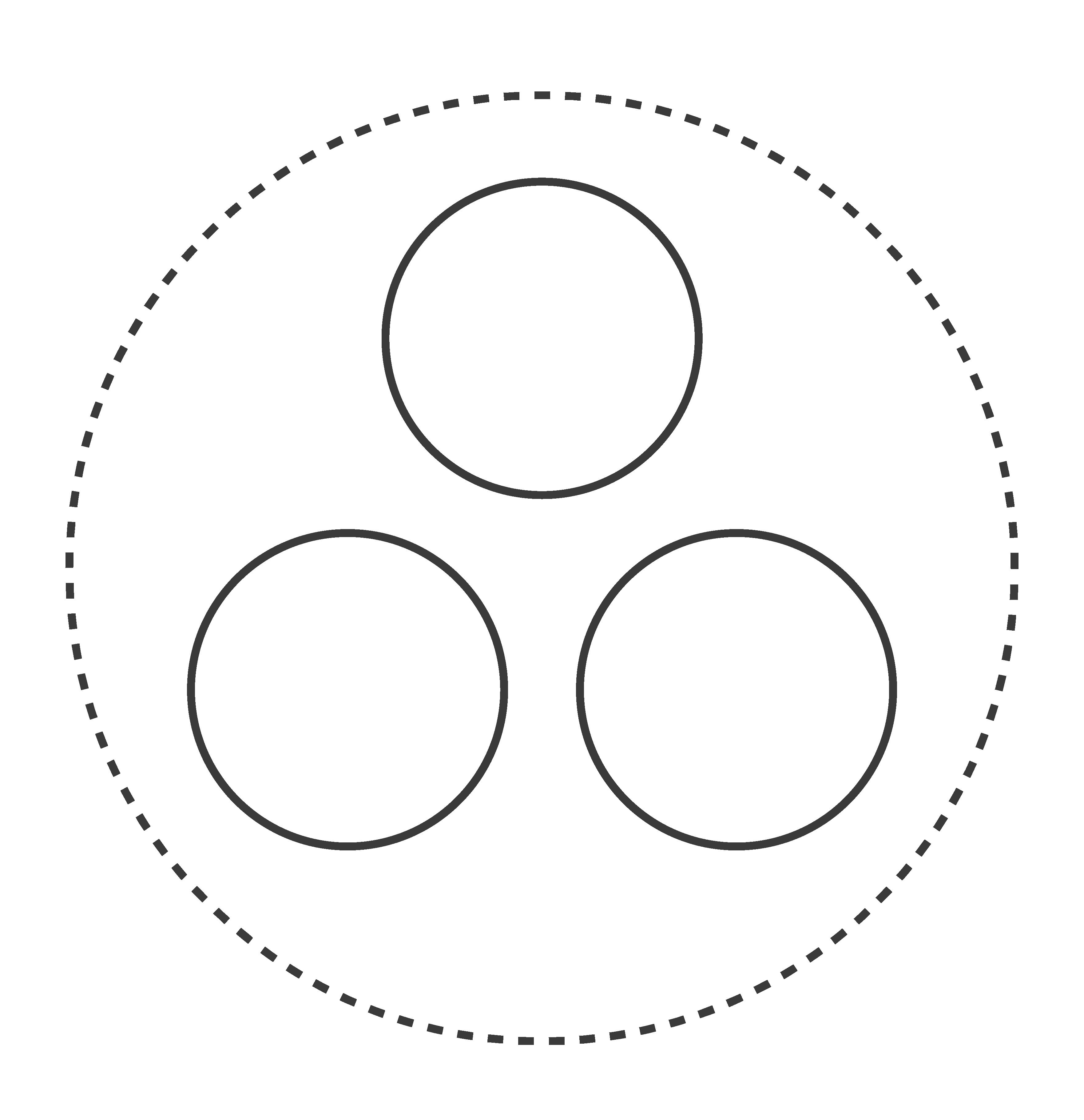Piktogramm großer Kreis mit drei Elementen