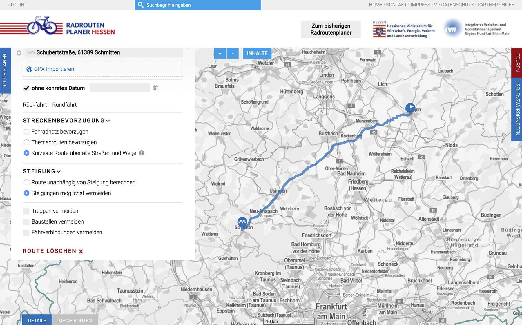 Screenshot Radroutenplaner Hessen