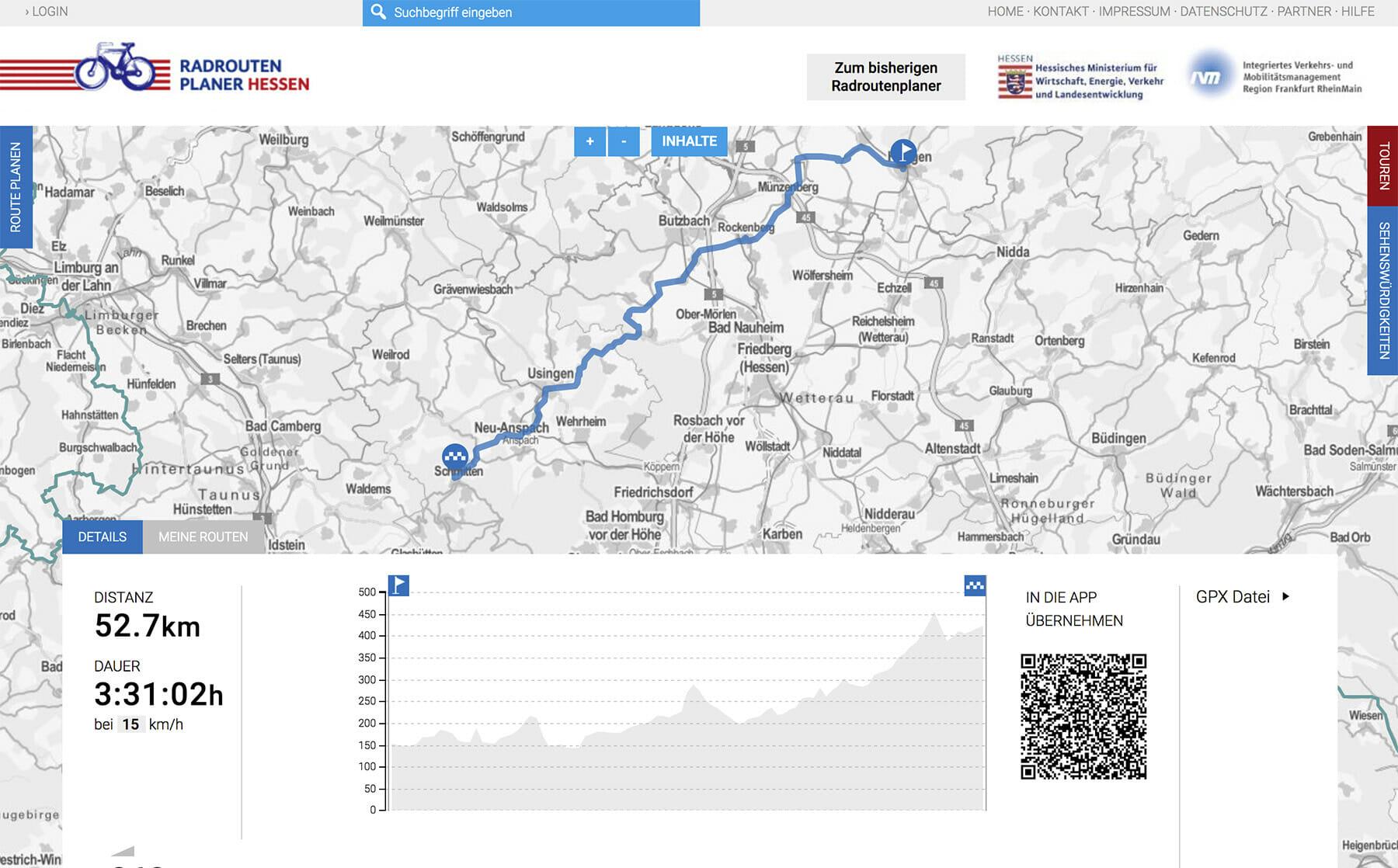 Screenshot Höhenprofil, Dauer und Distanz der Strecke