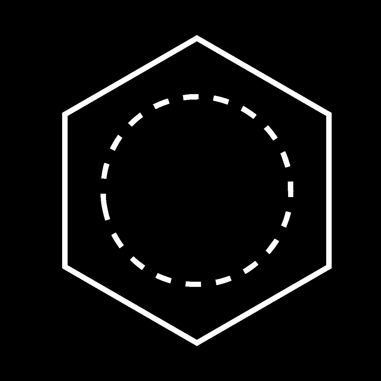Icon Kreis in Würfel Weiß