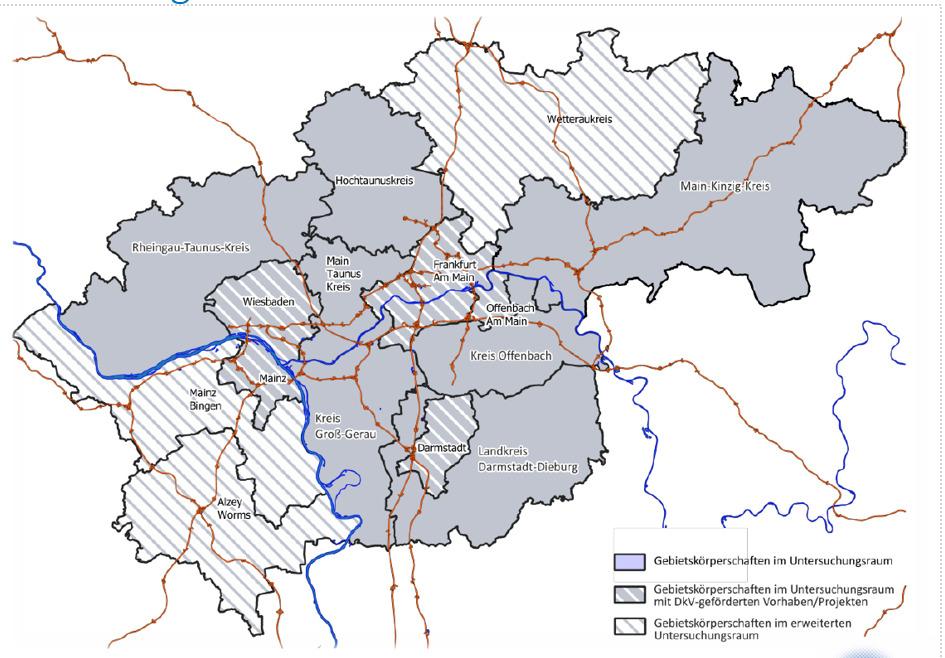 Landkreise innerhalb der Verkehrsregion Rhein Main